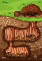 Una famiglia Lemming che vive sottoterra