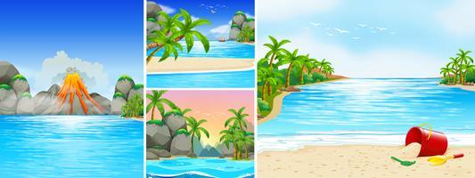 Scena con spiaggia e montagne
