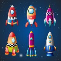 Una serie di razzi sul cielo vettore