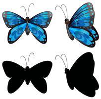 Sagoma farfalla in due posizioni vettore