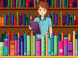 Un uomo che tiene un libro in biblioteca vettore