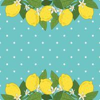 Fondo luminoso di frutti di limone agrumi tropicali. Poster con limoni, foglie verdi e fiori su pois blu turchese. Design colorato estivo. vettore