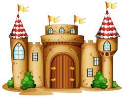 Un castello con quattro bandiere vettore