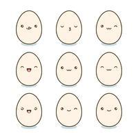 Set di uova di Pasqua felice. Uova di Kawaii con facce carine su sfondo bianco. Illustrazione vettoriale