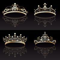 set collezione di quattro tiara dorate con perle femminili vettore