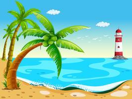 Alberi di cocco in spiaggia vettore