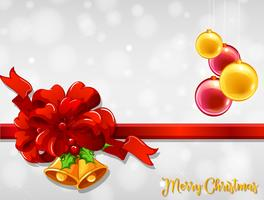 Modello di cartolina di Natale con nastro rosso e palle