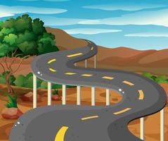 Scena con strada in montagna vettore