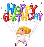 Scheda di buon compleanno con ragazza e palloncini