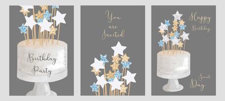 Set di progettazione di biglietti d'auguri di compleanno.