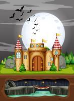 Un castello nella notte oscura vettore