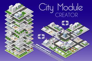 Creatore del modulo città isometrico vettore