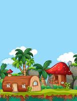 Casa di legno di funghi in natura vettore