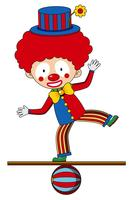 Clown del circo in piedi sulla palla vettore