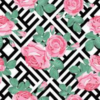 Motivo floreale senza soluzione di continuità. Rose rosa con foglie su sfondo geometrico bianco e nero. Illustrazione vettoriale