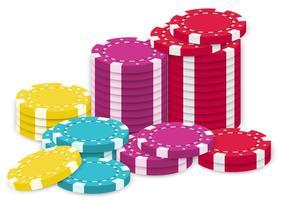 Una raccolta di gettoni da poker vettore