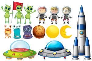 Set di oggetti a tema spaziale