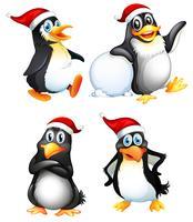 Set di simpatici personaggi pinguini vettore