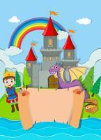 Disegno di carta con principe e drago vettore