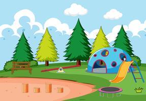 Attrezzature per parchi giochi nel parco vettore