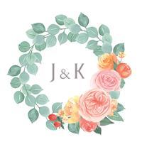 I fiori dell'acquerello dipinti a mano con il confine della struttura delle corone del testo, aquarelle fertile dei fiori isolato su fondo bianco. Disegnare fiori decorativi per carta, salvare la data, inviti di nozze, poster, banner design. vettore