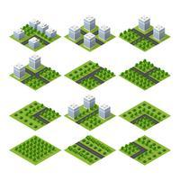 Proiezione isometrica 3D del paesaggio di vista superiore del quarto della città