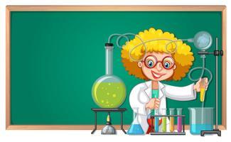 Un esperimento di scienctista in laboratorio vettore