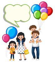 Modello di confine con famiglia e palloncini vettore