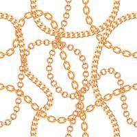 Fondo senza cuciture con collana metallica dorata di catene. Su bianco Illustrazione vettoriale