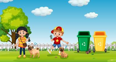 Bambini che camminano cane al parco vettore