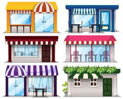 Una serie di negozi su sfondo bianco vettore