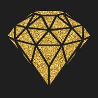 Diamante geometrico dorato di scintillio isolato su blackbackground.
