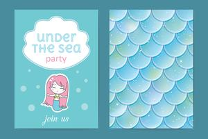 Invito a una festa Pesci olografici o scaglie di sirena. Illustrazione vettoriale