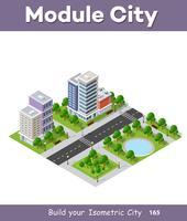 Idea di business concetto di telefono città. 3d isometrico grattacielo vettore