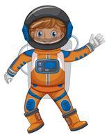 Bambino in astronauta vestito su sfondo bianco