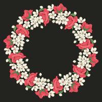 Motivo floreale rotondo su sfondo nero. Illustrazione vettoriale