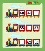 Foglio di lavoro matematico con numeri di conteggio sul treno