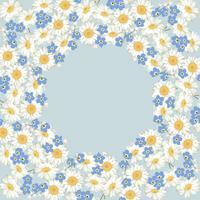 camomilla e dimenticare me-non-fiori modello su sfondo blu vettore