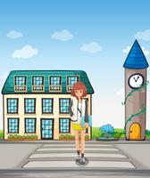 Una ragazza che cammina per strada vettore