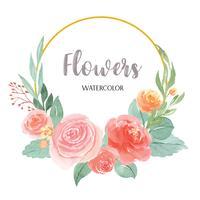 I fiori dell'acquerello dipinti a mano con il confine della struttura delle corone del testo, aquarelle fertile dei fiori isolato su fondo bianco. Arredamento di fiori di design vettore