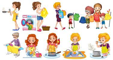 Persone che fanno diversi lavori domestici vettore