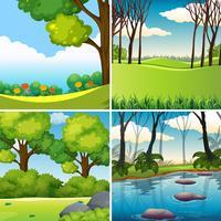 Una serie di paesaggi naturali vettore