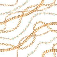 Fondo senza cuciture con collana metallica dorata di pere e catene. Su bianco Illustrazione vettoriale