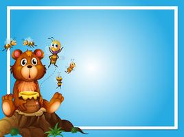 Modello di confine con orso e api