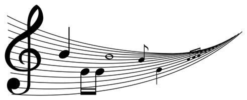 Sfondo con note di musica nera vettore