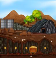 Un paesaggio minerario d'oro vettore