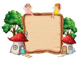 Fata su banner in legno