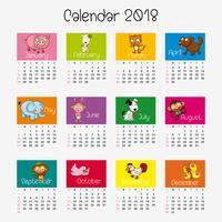 Modello di calendario con diversi animali vettore