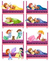 Bambini che dormono sul letto a castello vettore