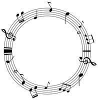 Modello di cornice rotonda con note musicali su scale vettore